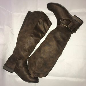 Brown knee high riding boots size 9 mossimo